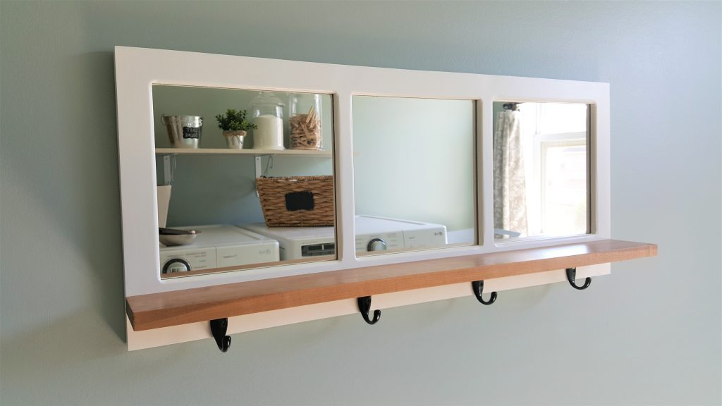 Entry Way Mirror Shelf With Coat Hooks